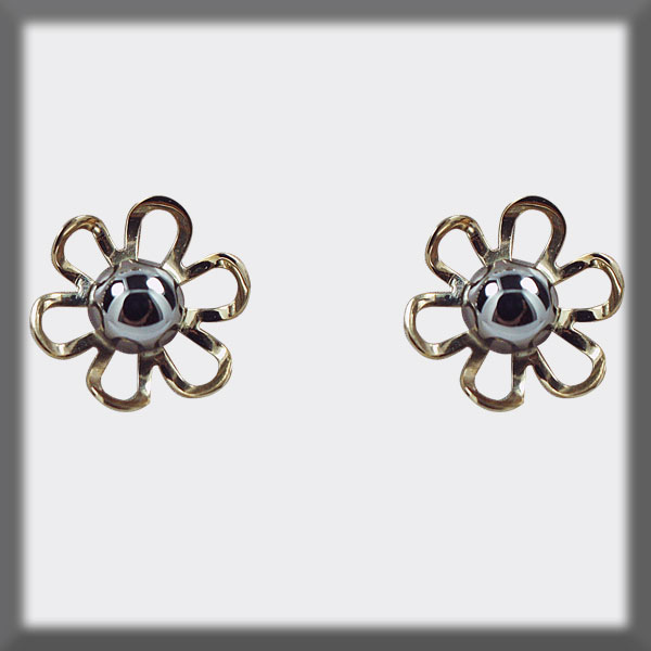EARRINGS STAINLESS STEEL AND GOLD, 6 PETALS, 1/2 BALL 4 mm