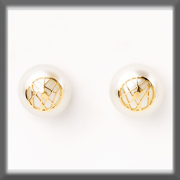 EARRINGS IN STAINLESS STEEL AND IN GOLD, PEARL STUD 9,5 mm,  STR