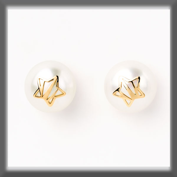 EARRINGS IN STAINLESS STEEL AND IN GOLD, PEARL STUD 9,5 mm, SOAK