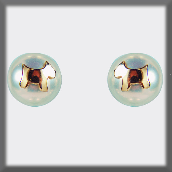 EARRINGS IN STAINLESS STEEL AND IN GOLD, FRESH WATTER PEARL STUD