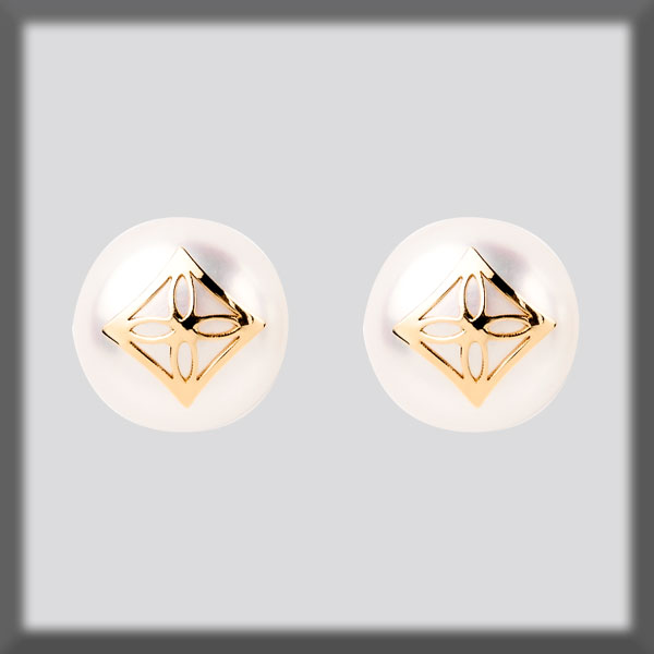 EARRINGS IN STAINLESS STEEL AND IN GOLD, PEARL STUD 9,5 mm, SQUA