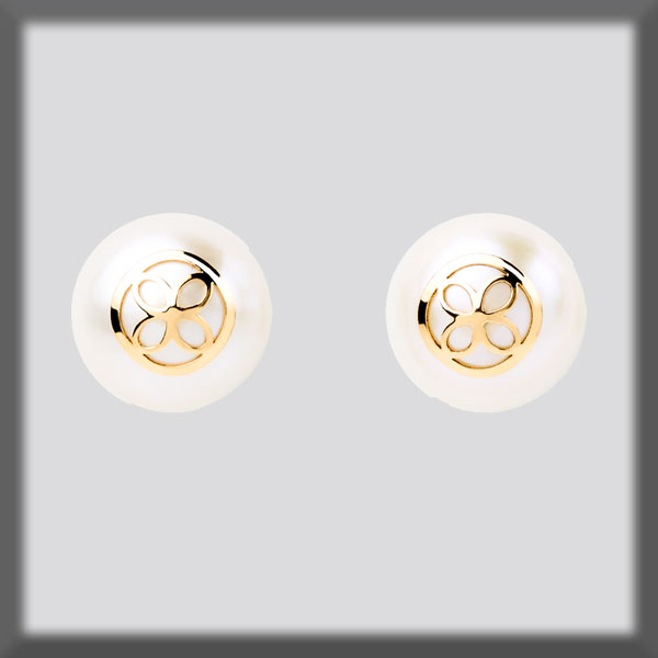 EARRINGS IN STAINLESS STEEL AND IN GOLD, PEARL STUD 9,5 mm,  ROU