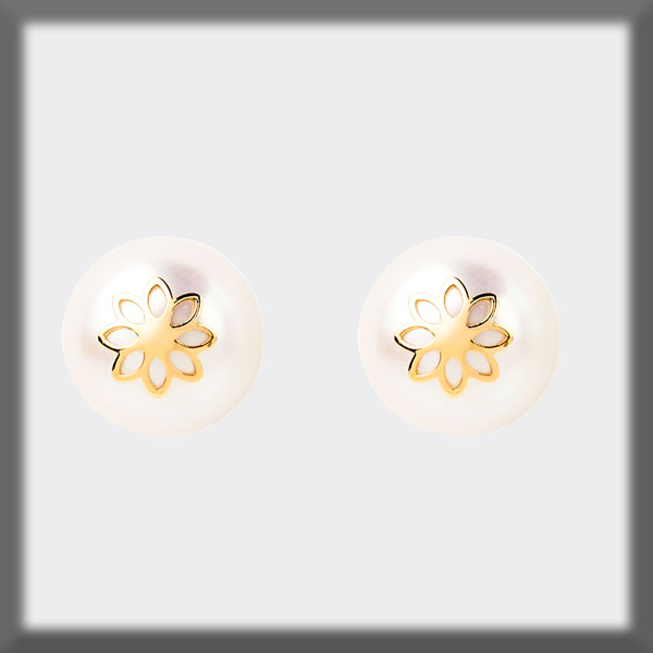 EARRINGS IN STAINLESS STEEL AND IN GOLD, PEARL STUD 9,5 mm, DAIS