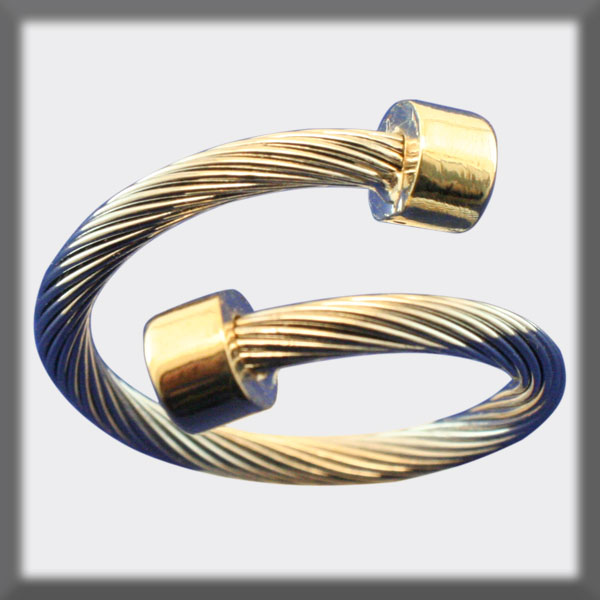 RING IN STAINLESS STEEL AND IN GOLD, CROSSED CABLE 2 mm  , CYLIN