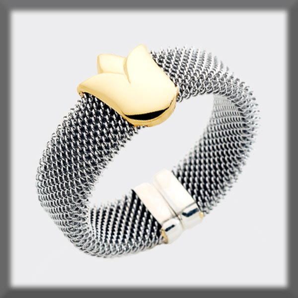 RING IN STAINLESS STEEL AND IN GOLD, MESH 7 mm, TULIP IN SHINNY