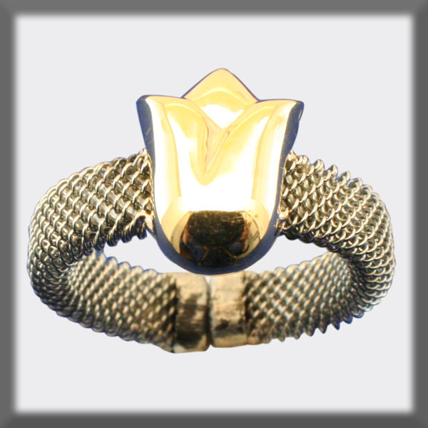 RING IN STAINLESS STEEL AND IN GOLD, MESH 5 mm, TULIP IN SHINNY