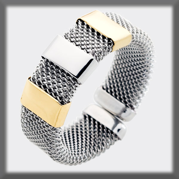 RING IN STAINLESS STEEL AND IN GOLD, MESH 7 mm, 2 STRIPS IN GOLD