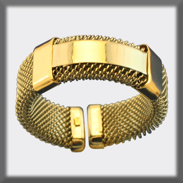 RING IN STAINLESS STEEL AND IN GOLD, MESH 7 mm, 1 STRIP IN STAIN