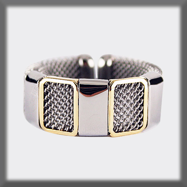 RING IN STAINLESS STEEL AND IN GOLD, MESH,  2 CERCLES IN GOLD 3
