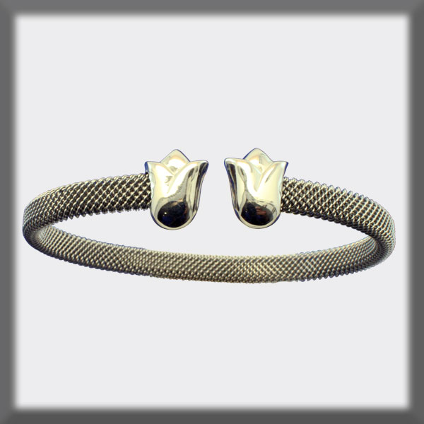 BRACELET IN STAINLESS STEEL AND IN  SILVER,, MESH 5 mm, TULIPS I