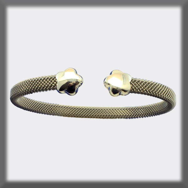 BRACELET IN STAINLESS STEEL AND IN SILVER,, MESH 5 mm, FLOWERS I